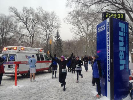 The snow didn't stop runners from participating in a half marathon in Central Park.