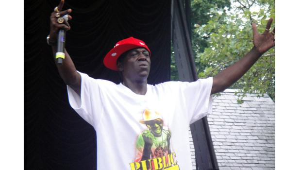 Flavor Flav is captured in a rare out-of-clock moment at Central Park's Summerstage on August 15.