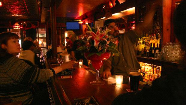 The mahogany bar made it from the original Freddy's to the new location in South Park Slope.