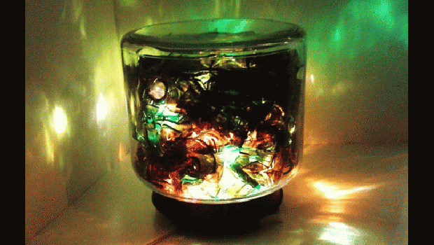 A lamp made from reused glass shards.