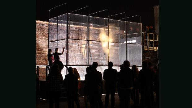 Vibration-sensitive lights flash when bottles shatter in the cage.