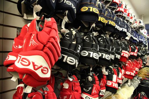 Hockey gloves for sale at Westside Skate and Stick.