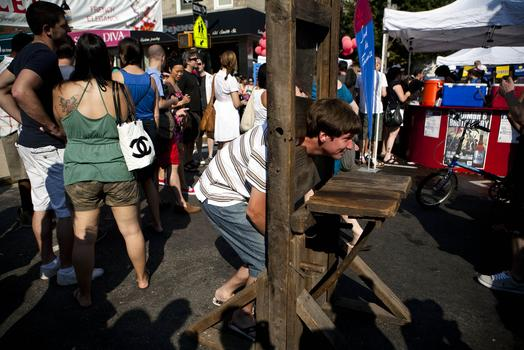 A Model of Guillotine at Smith Street Block Party