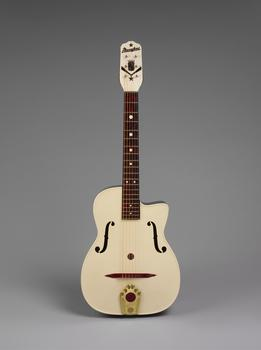 An arch top guitar made by Italian-born American luthier Mario Maccaferri around 1953.