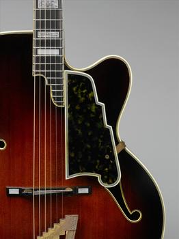 This archtop guitar, also made in the early 1950s by John D'Angelico, incorporates elements of the violin and mandolin.