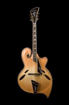 "The style of this ""teardrop"" guitar was born in the 1950s, but this John Monteleone instrument was made in 2008."