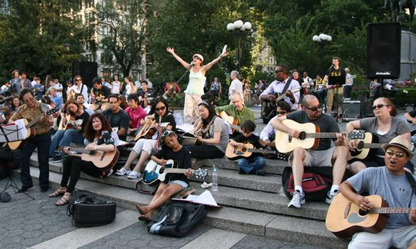 Over 70 people gathered in Union Square to show off their guitar skills, and a few volunteered to sing.