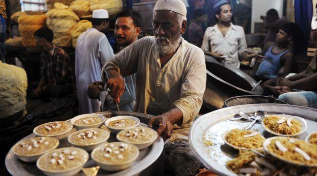 Traditional desserts at a market in Kolkata on September 8, 2010 ahead of the Eid al-Fitr festival.