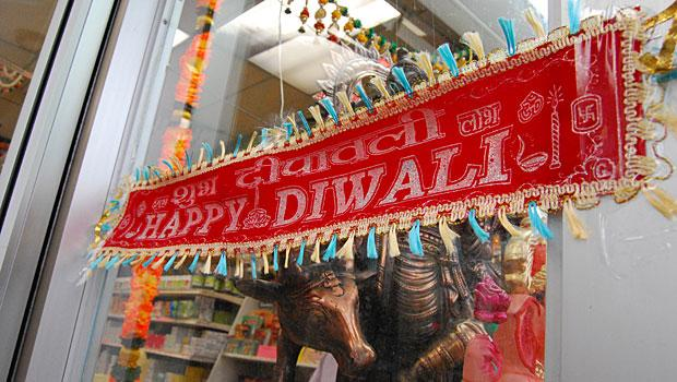A Happy Diwali banner hangs on 74th St. in Jackson Heights, Queens.