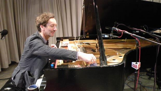 Hauschka places all sorts of objects into the piano insides