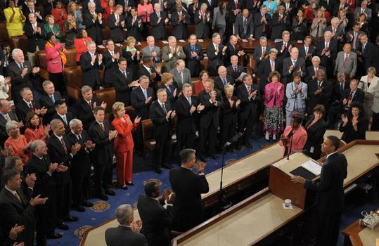 Obama is applauded prior to addressing a joint session of Congress.