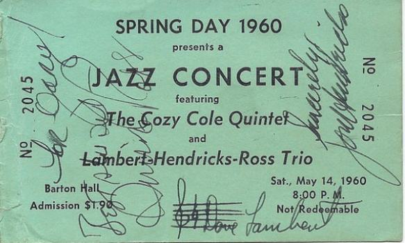 An autographed Lambert-Hendricks-Ross Trio ticket from a 1960 show at Cornell University.