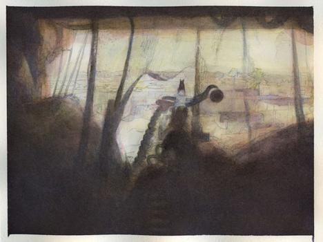 Pierce's watercolor of the work.