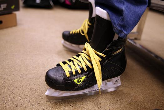 An ice hockey skate for sale at Westside Skate and Stick.