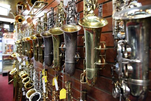 Horns for sale at NY Woodwind and Brass.