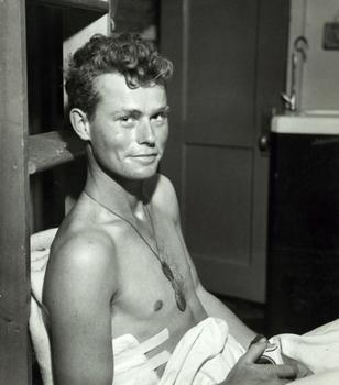 "Injured Marine after Treatment. Aboard the USS ""Samaritan"" in Iwo Jima, 1945"