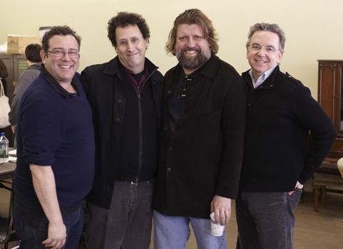 "(L to R) Michael Greif, Tony Kushner, Oskar Eustis and James Houghton on the set of ""The Intelligent Homosexual's Guide to Capitalism and Socialism with a Key to the Scriptures."""