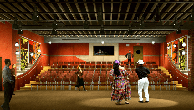 Architecutral rendering of the interior of the Pregones Theatre