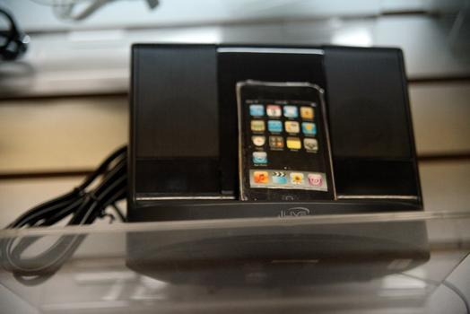 An iPhone dock with a hidden camera.