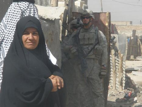 A shot of an Iraqi woman Wilkens and his squad came upon on a daily patrol.
