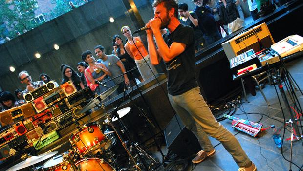 Javelin performs uptown at the Whitney's lower gallery space on August 13.