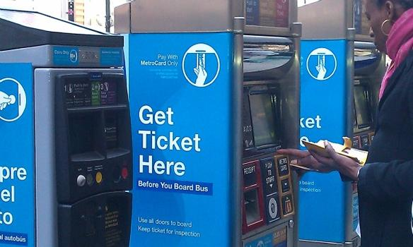 People are supposed to pay for Select Bus before boarding using nearby kiosks.