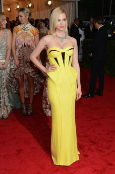 January Jones, who plays Betty Draper in 'Mad Men,' said on the red carpet she leaned towards avant garde dresses when she got the chance. She wore Cartier and Versace on Monday night.