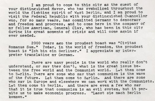 Text excerpt of President Kennedy\'s address