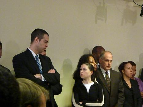 Peter Kauffmann and Marissa Shorenstein exchange a look at press conference for Gov. Paterson amid the David Johnson scandal on February 25, 2010.