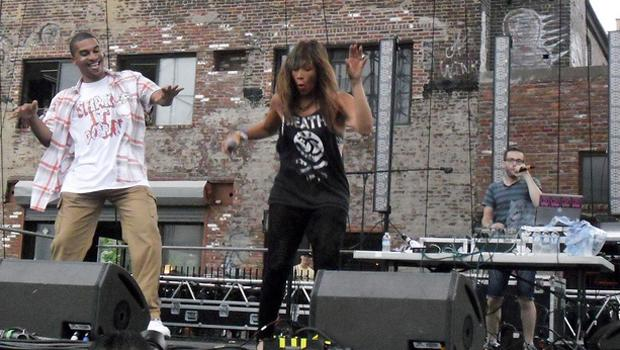 Chicago's Kid Sister (Melisa Young) performs on the Williamsburg Waterfront stage on August 22.