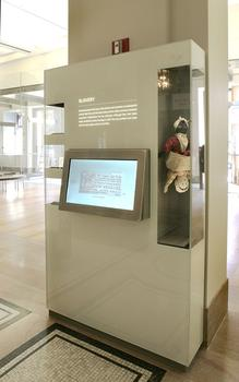 High-tech kiosks impart information about exhibits and the society.