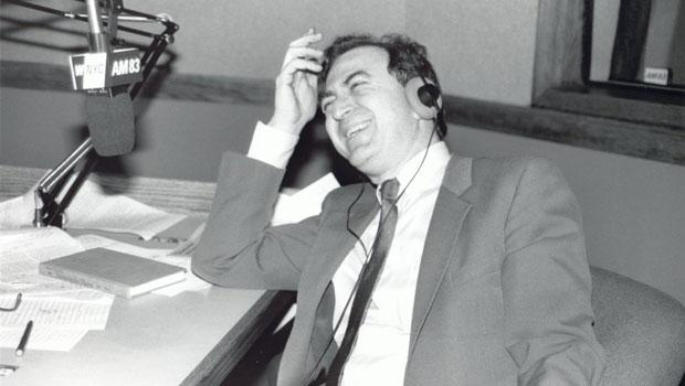 Leonard laughing in the studio. (1985)