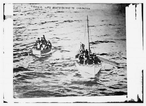 The Carpathia answered rescue calls after the Titanic hit an iceberg and sank on April 15, 1912. Here, Titanic lifeboats headed to the Carpathia.