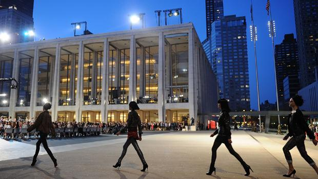 Models walk the runway during Fashion's Night Out: The Show at Lincoln Center on September 7, 2010 in New York City.