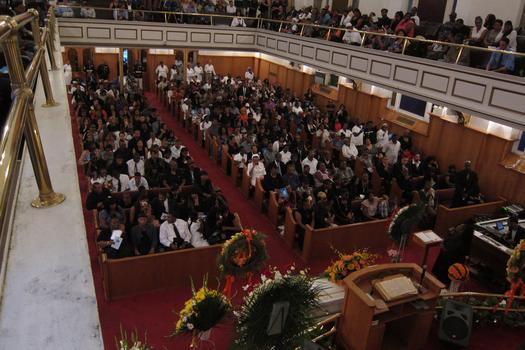 The funeral for Lloyd Morgan was held at the Nehoh Baptist Church in Harlem.