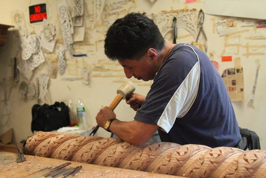 Patricio Lojano working at the Byzantion Woodworking Co.