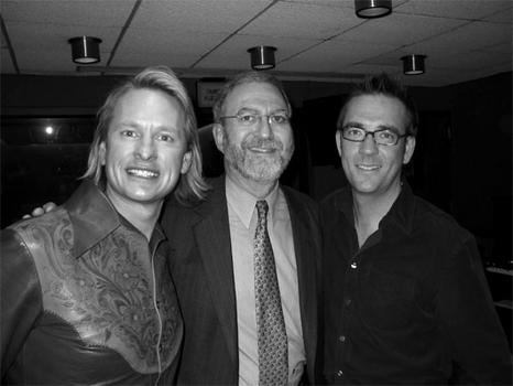 Carson and Ted of <em>Queer Eye For The Straight Guy</em> and Leonard Lopate, February 2004.