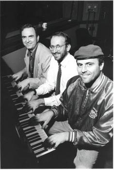 Leonard with WNYC host Brian Lehrer &  Guardian Angels founder Curtis Sliwa during Sliwa's 1994 tenure at WNYC as the voice of <em>New York Beat.</em>