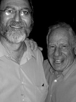 Leonard with comedy writer-director Mel Brooks, 2004.