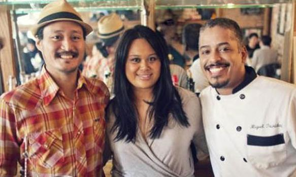 Maharlika Team (from left):  Enzo Lim, Nicole Ponseca, chef Miguel Trinidad