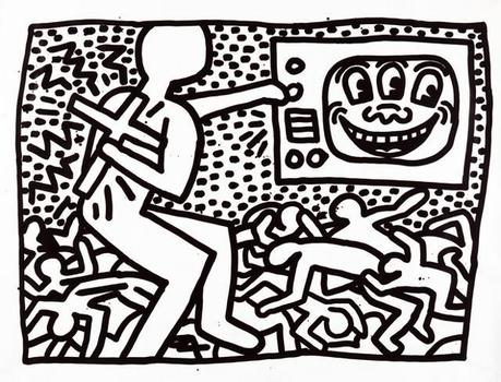 A sumi ink drawing from 1981 by Keith Haring, part of an examination of the artist's early work at the Brooklyn Museum.