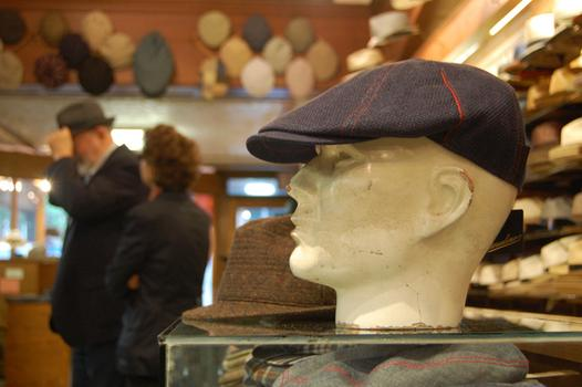 A manequin head sports a J.J. Hat Center cap