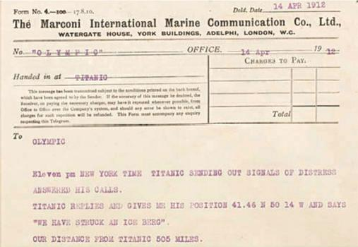 A Marconi message that the Titanic sent to the Olympic at 11 P.M. on April 14, 1912 saying, 'We have struck an ice berg' is also part of the Bonham's auction.
