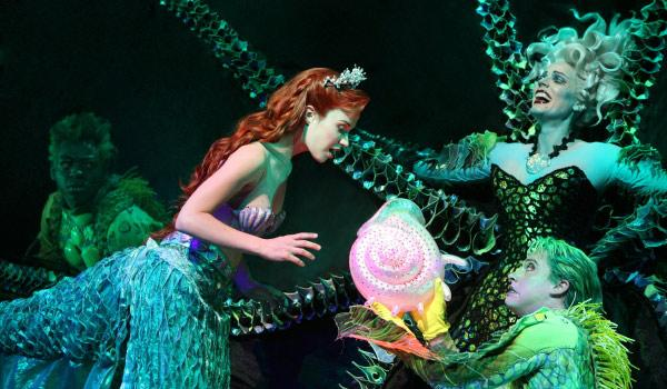 Sierra Boggess as Ariel, Sherie Rene Scott as Ursula, Derrick Baskin as Jetsam and Tyler Maynard as Flotsam in The Little Mermaid, directed by Francesca Zambello