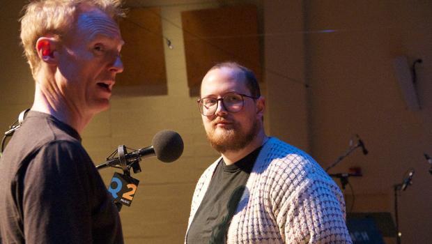 Dan Deacon and John Schaefer before the performance.
