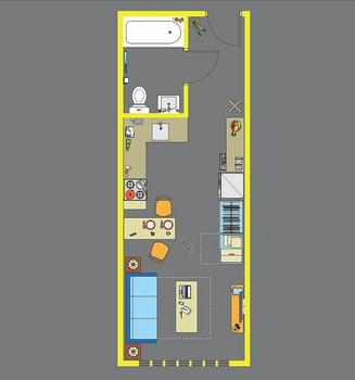 A mico-apartment floorplan.