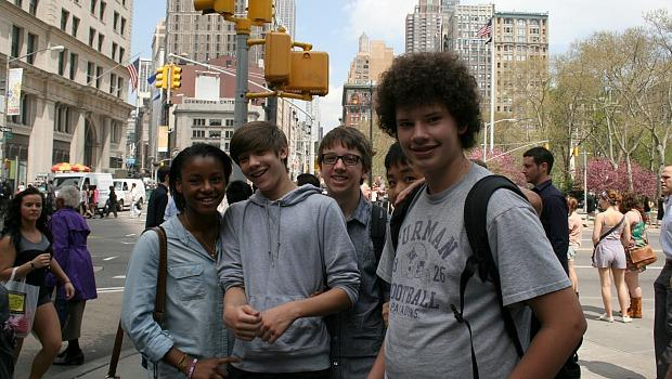 "Students from a nearby high school called their Mister Softee break a ""field trip."" From left: Angel Vaughn, Jason Maris, Will Borden, Zihan Vaughn and Andrew Jansen."