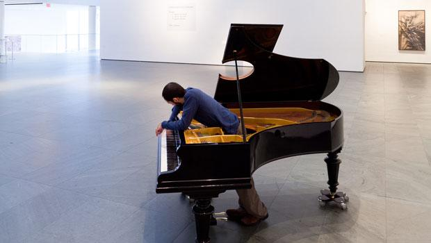 Khosrowpour, along with the four other pianists in the project, also moves the piano around as they play.
