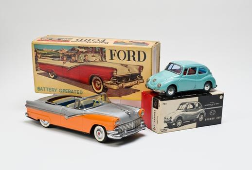 Ford convertible toy car with original box. c. 1956.