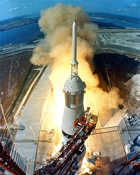 The liftoff of the Apollo 11 Saturn V space vehicle. (NASA)
